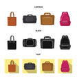 isolated object of suitcase and baggage icon set vector image