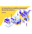 isometric article for education vector image vector image
