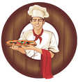 italian pizza cook brunette man vector image