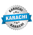 Karachi round silver badge with blue ribbon vector image vector image