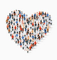 large group people in heart sign shape vector image vector image