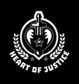 logo heart of justice the sword piercing the vector image vector image