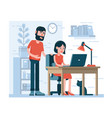 man and woman work together on laptop vector image