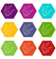 marijuana leaf icons set 9 vector image vector image