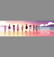 mix race people group on sunset beach seaside vector image vector image