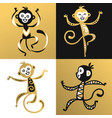 monkey chinese style vector image vector image