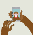Monkey makes selfie Animal clicks to your vector image
