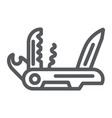 multi tool line icon camping and multifunction vector image vector image