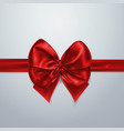 red bow and ribbon silk satin or foil packing vector image
