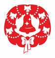 red christmas wreath and bell vector image vector image