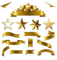 set gold ribbons and stars set vector image vector image