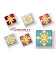 set merry christmas realistic gift box vector image