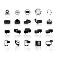 set of communications with reflection icons vector image vector image