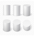 set of white cylinders in various projections vector image vector image