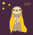 sleepy funny sloth turning in blanket and toy vector image