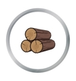 Stack of logs icon in cartoon style isolated on vector image