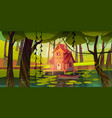 stilt house at forest swamp with wooden boat vector image vector image