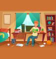 student bedroom teenager read bock college vector image vector image