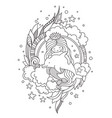 stylized round composition with mermaid sitting vector image vector image