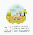 summer landscape with woman relaxing in the park vector image vector image