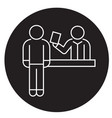ticket booking office black concept icon vector image vector image