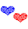 two hearts blue and red vector image