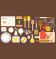 utensils and ingredients for bakery vector image vector image