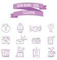 Valentine purple icons style collection vector image
