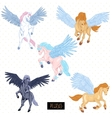 vintage set winged pegasus vector image