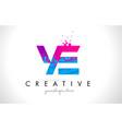 ye y e letter logo with shattered broken blue vector image vector image