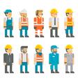 Flat design construction workers set vector image