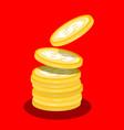 money coins heap flat design cartoon vector image