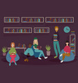 young people in library read books in soft chairs vector image