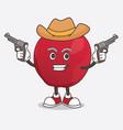 apple cartoon mascot character holding guns vector image vector image
