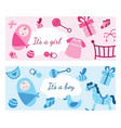 bagirl and boy banner set in pink and blue vector image vector image