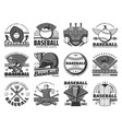 baseball sport team club tournament icons vector image vector image