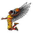 basketball player jumps to dunk vector image