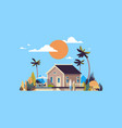 big summer villa house umbrella surf board sunset vector image vector image