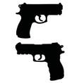 black silhouettes handguns vector image vector image