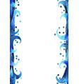 blue color ocean wave style border watercolor vector image vector image
