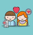 boy and girl lover with chat message vector image