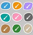 brush symbols Multicolored paper stickers vector image vector image