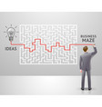 businessman with a labyrinth vector image