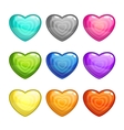Cartoon colorful glossy hearts set vector image vector image