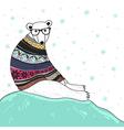 Christmas card with cute hipster polar bear vector image