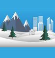 christmas landscape city mountain snow nature vector image