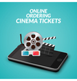 Cinema movie ticket online order concept Mobile vector image vector image