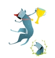 Competition Winning Red Happy Dog Jumping with Cup vector image vector image