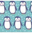 cute penguins in snow repeat pattern vector image vector image