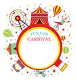 Fun Fair Carnival Circus Round Frame vector image